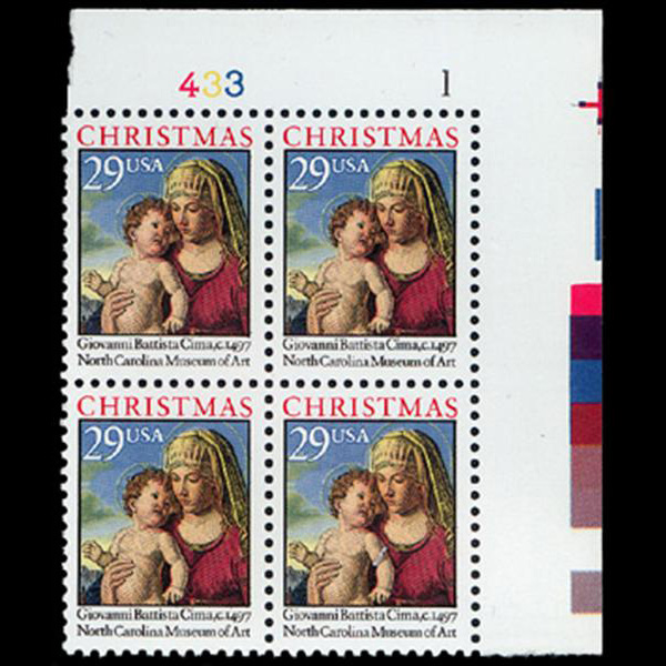 1993 29c Christmas Traditional Plate Block
