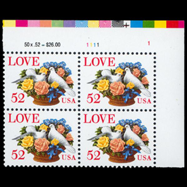 1994 52c Love Dove Plate Block