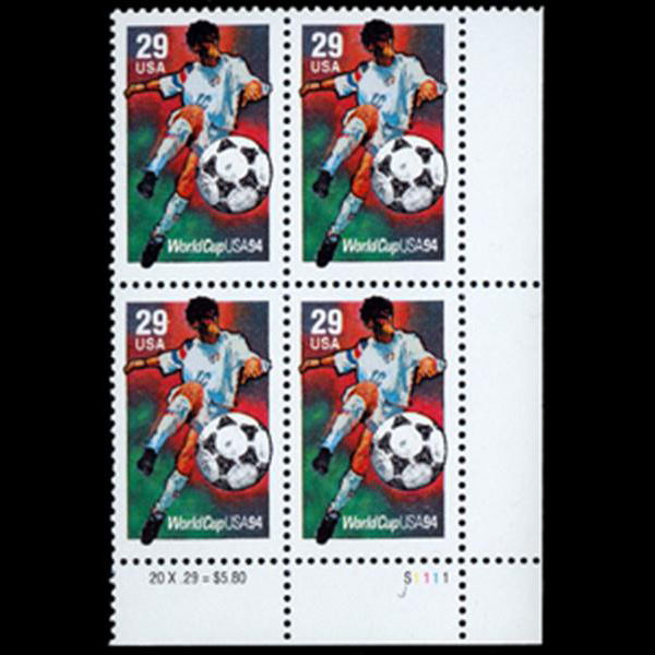 1994 29c World Cup Soccer Plate Block