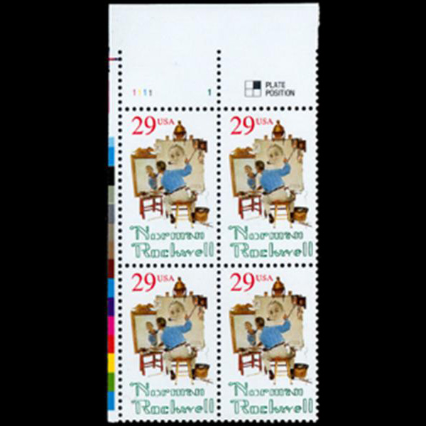 1994 29c Norman Rockwell Plate Block