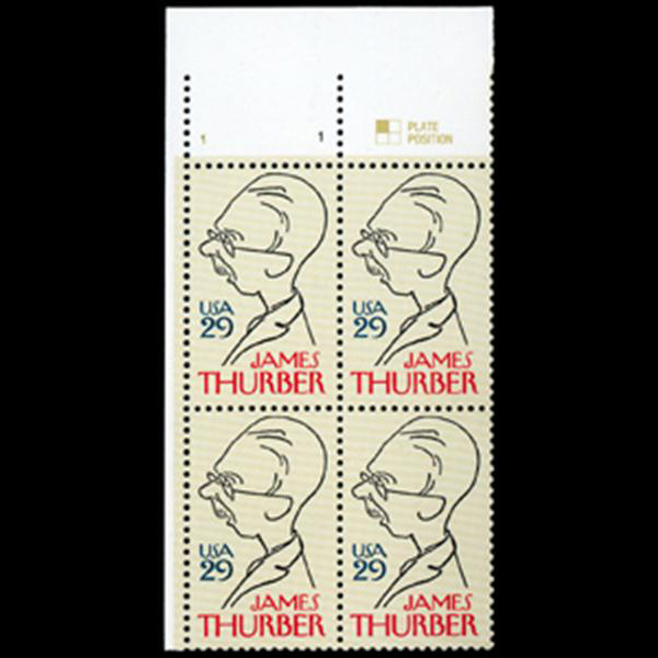 1994 29c James Thurber Plate Block