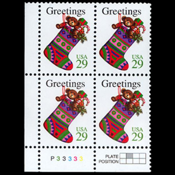 1994 29c Christmas Stocking Plate Block