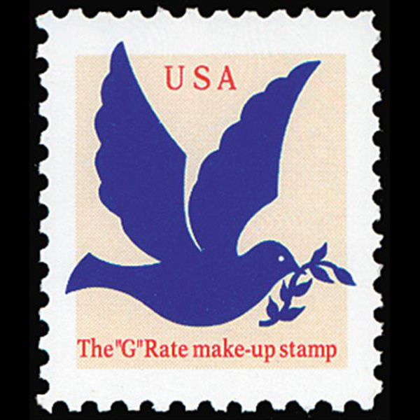 "1994 3c ""G"" Make-Up Rate Mint Single (ABN, Bright Blue)"