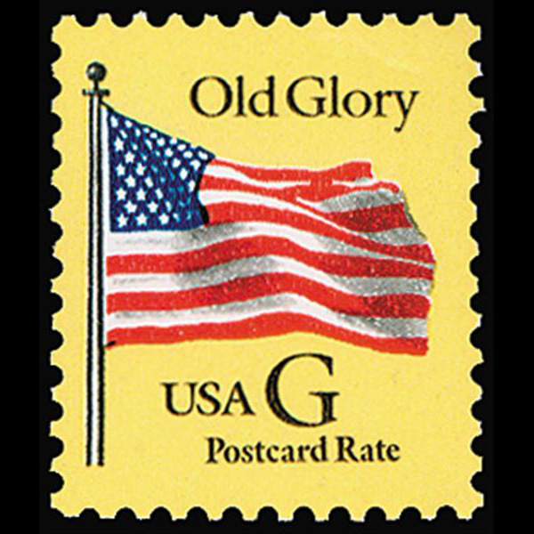 "1994 20c ""G"" Old Glory Postcard Rate (BEP, Black ""G"") Mint Single"