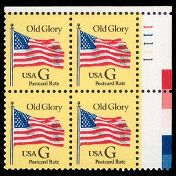 "1994 20c ""G"" Old Glory Postcard Rate (BEP, Black ""G"") Plate Block"