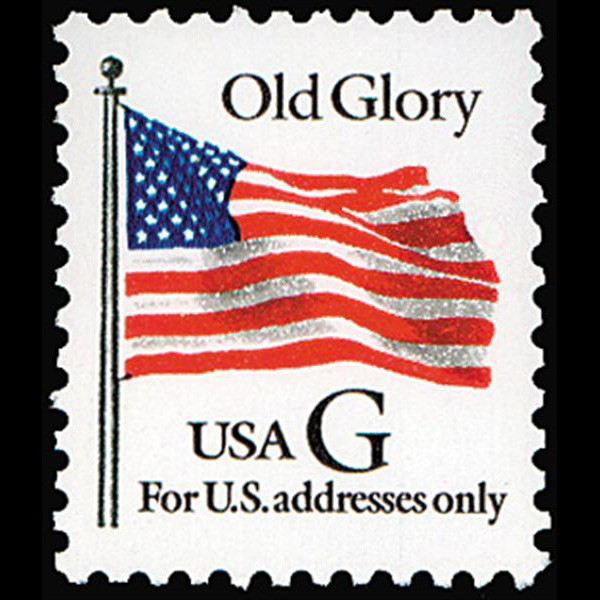 "1994 20c ""G"" Old Glory (BEP, Black ""G"") Mint Single"