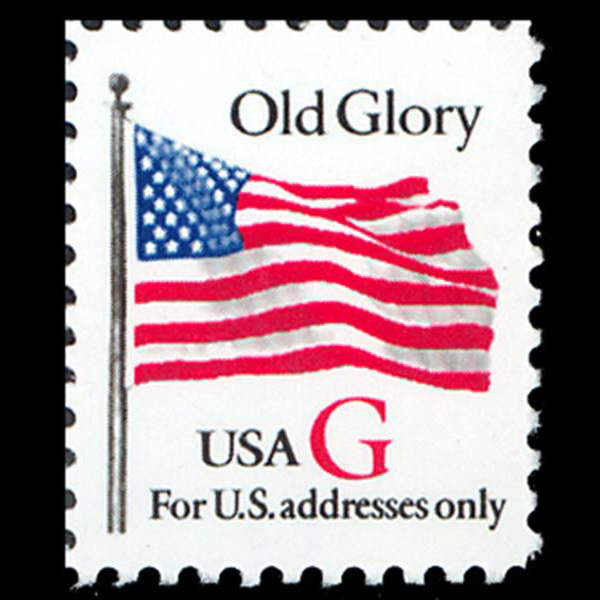 "1994 20c ""G"" Old Glory (SVS, Red ""G"") Mint Single"