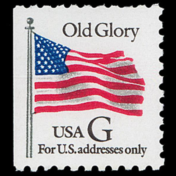 "1994 32c ""G"" Old Glory Bklt Mint Single (BEP, Black ""G"")"