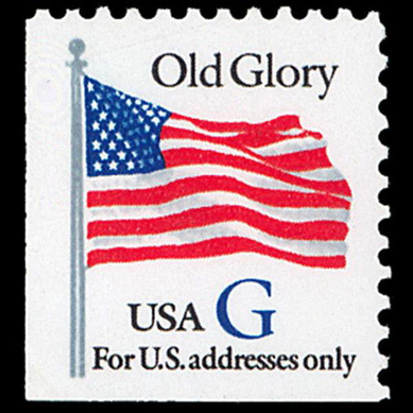 "1994 32c ""G"" Old Glory Bklt Mint Single (ABN, Blue ""G"")"