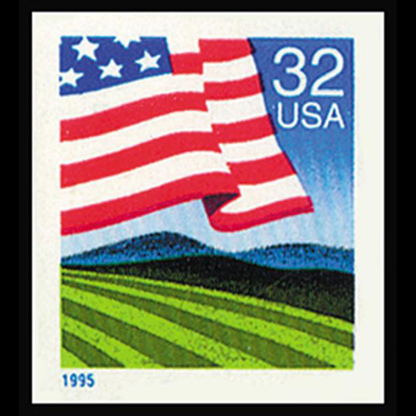 1995 32c Flag Over Field Mint Single