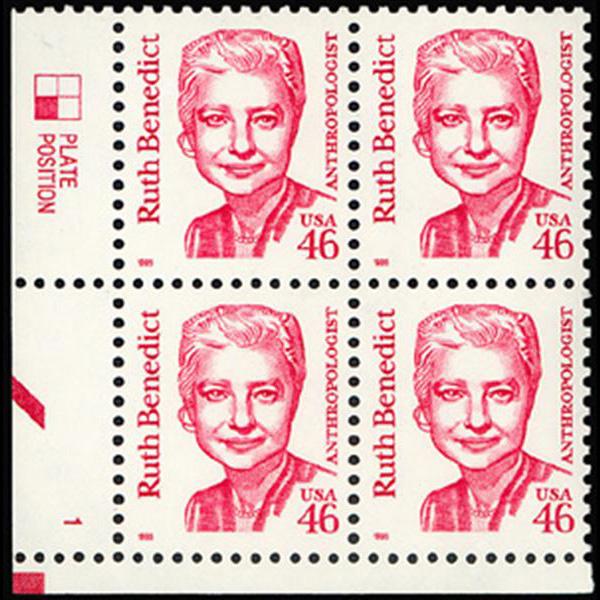 1995 46c Ruth Benedict Plate Block