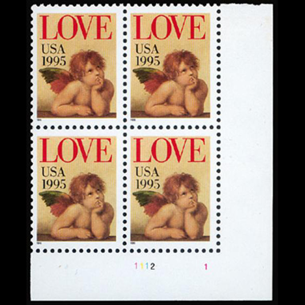 1995 32c Love Cherub Plate Block