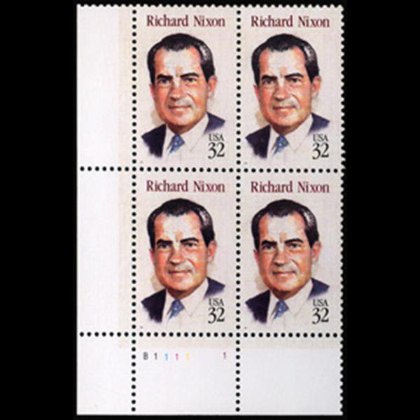 1995 32c Richard M. Nixon Plate Block