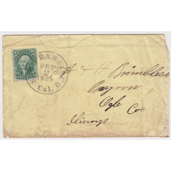 1857 10c Washington, Type III on Cover