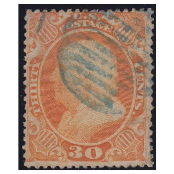 1860 Franklin 30c Orange Used Blue Cancel