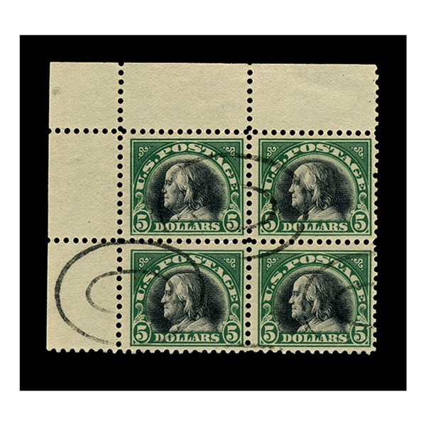 1920 $5 Franklin Deep Green & Black, FVF Used, Block of 4