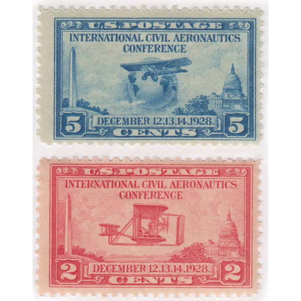 1928 2c & 5c Aeronautics Pair Mint NH