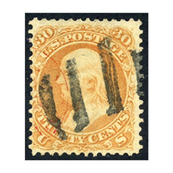 1861 30¢ Franklin Orange, FVF Used