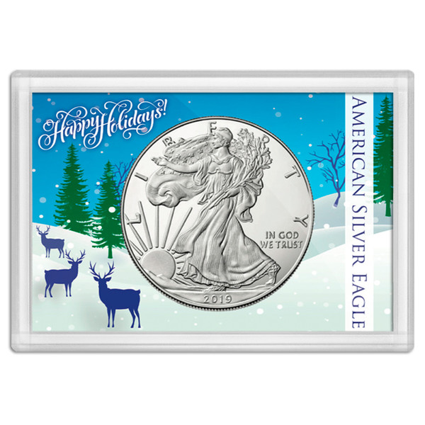 "American Silver Eagle Happy Holidays Frosty Case 2""x3"""