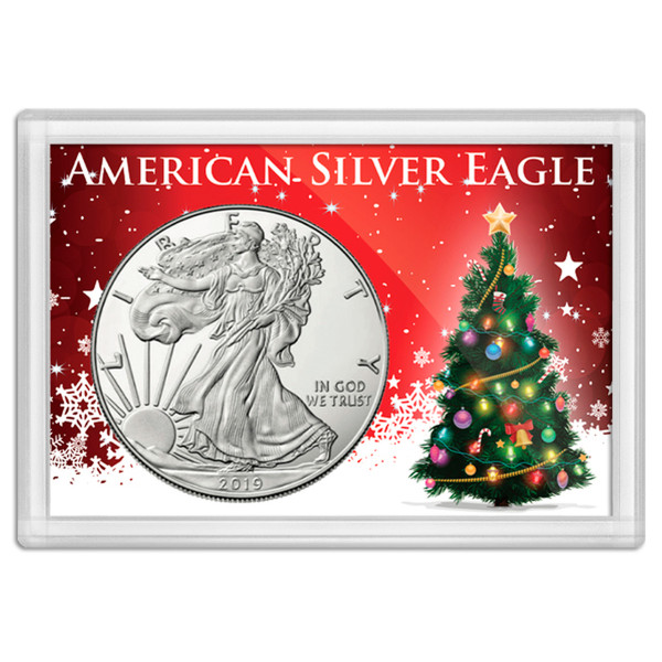 "American Silver Eagle 'Tis the Season Tree Frosty Case 2""x3"""