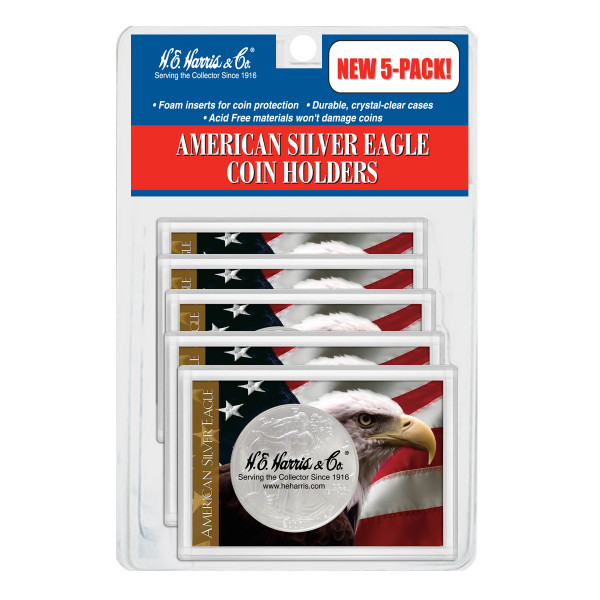 American Silver Eagle Coin Holders - 5 Pack