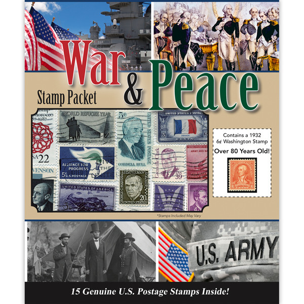 War and Peace Stamp Collection Packet (15 ct)