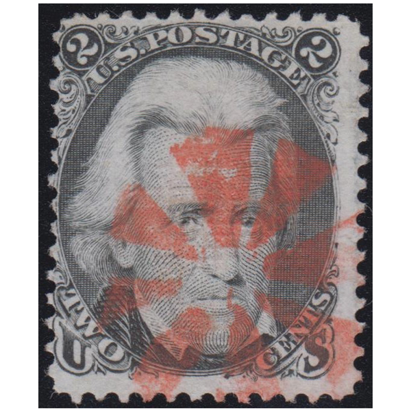 1867 2c Jackson, E Grill, Used, Red Cancel