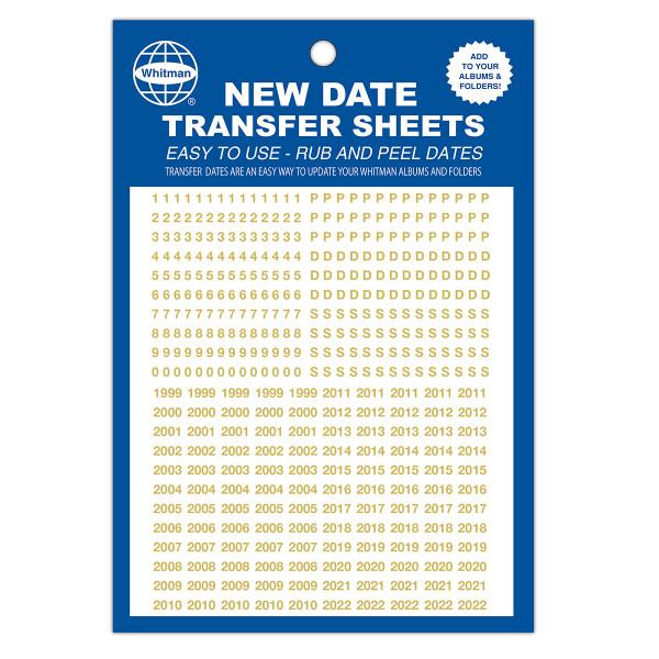 Date Transfer Sheet for Whitman Album - Gold