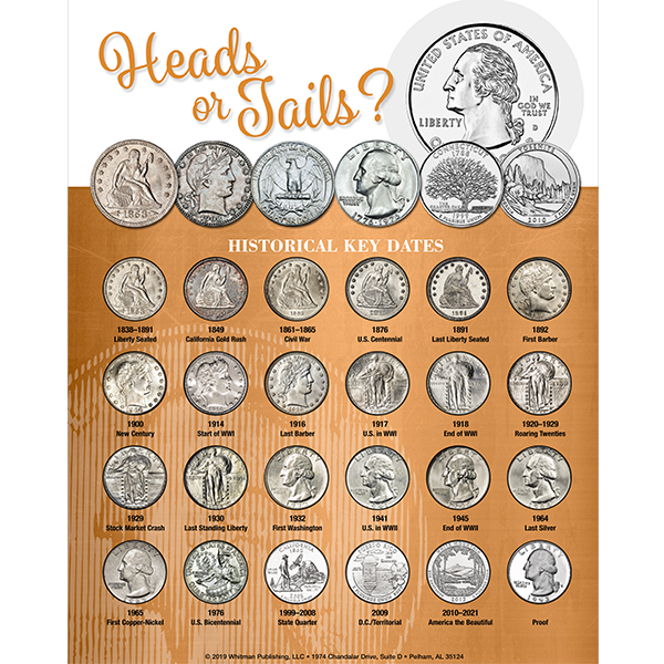 Whitman Deluxe Quarter Coin Board: Heads or Tails?