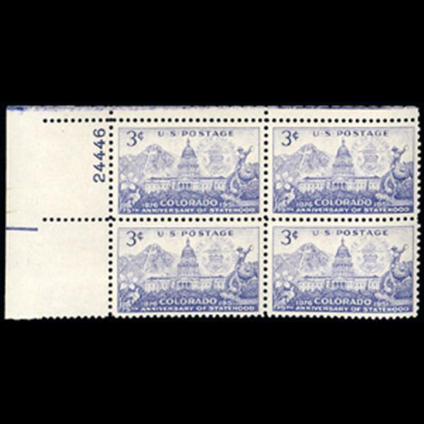 1951 3c Colorado Statehood Plate Block