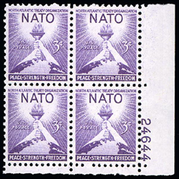 1952 3c NATO Plate Block