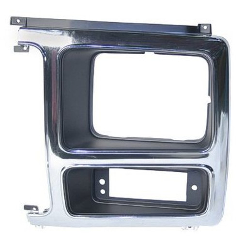 LH / 1980-86 FORD PICKUP & BRONCO HEADLIGHT BEZEL CHROME & BLACK