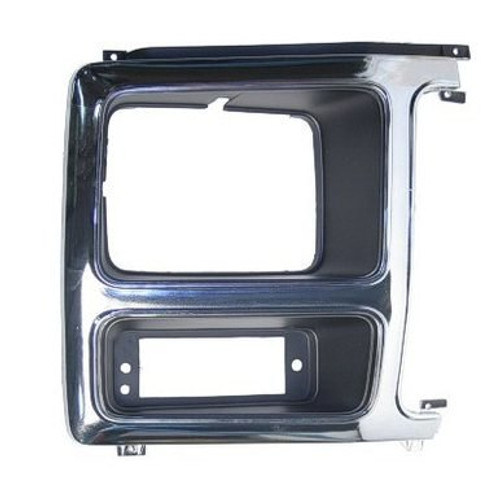 RH / 1980-86 FORD PICKUP & BRONCO HEADLIGHT BEZEL (chrome & black)