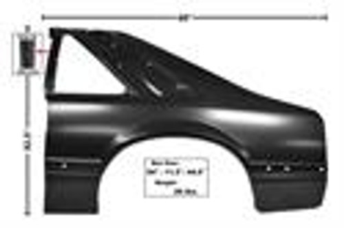 91-93 MUSTANG LH REAR QUARTER PANEL     **  SHIP TRUCK FREIGHT **