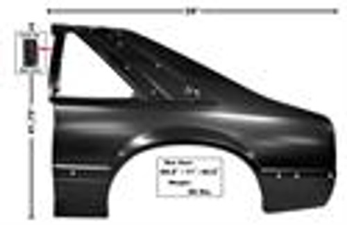87-90 MUSTANG LH REAR QUARTER PANEL     SHIP TRUCK FREIGHT    EST..  $ 220.00