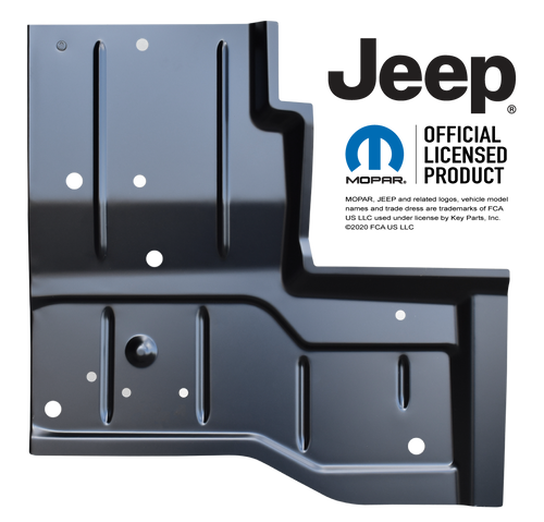 '76-'95 REAR FLOOR PAN, DRIVER'S SIDE 0480-227 This OE Style rear floor pan, driver's side fits:  1976-1986 Jeep CJ7 1987-1995 Jeep YJ Wrangler