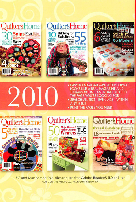 Quilter's Home Magazine 2010 - CD - 6 Issues Back