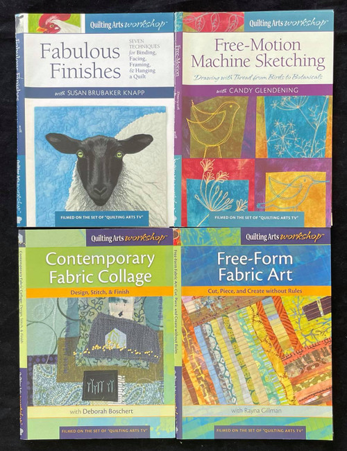 DVDs Only! Quilting Arts Workshop Bundle - Free-Motion Machine Sketching, Fabric Art