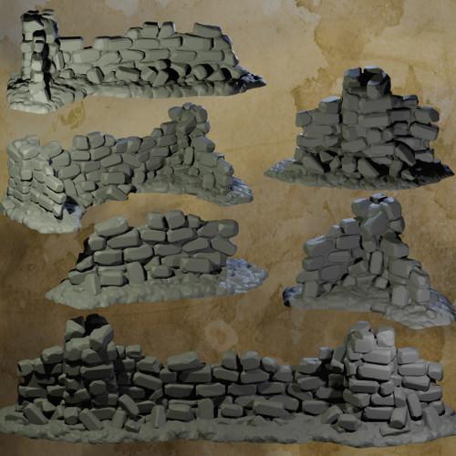 Ruined Rock Walls - 6pcs