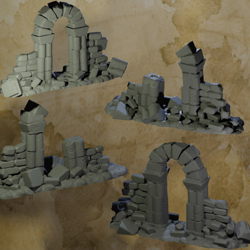 Ruined Arches and Pillars - 6 Pcs