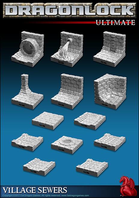Dungeon Tiles - 30 Pcs Sewer Wall Kit