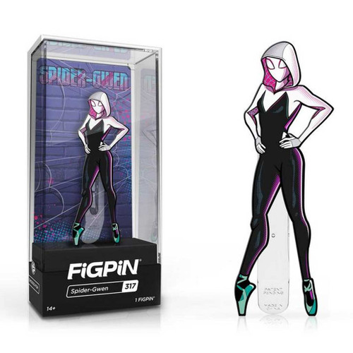 The Spider-Man: Into the Spider-Verse Spider-Gwen FiGPiN Enamel Pin is #317 in the collection.