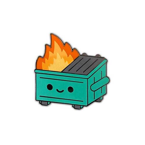 Dumpster Fire Enamel Pin by 100% Soft