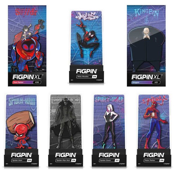 The Spider-Man: Into the Spider-Verse FiGPiN Collector 7-Pin Box Set