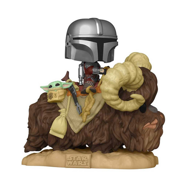 Star Wars The Mandalorian Mando on Bantha with Child in Bag  Deluxe Pop! Vinyl Figure #416