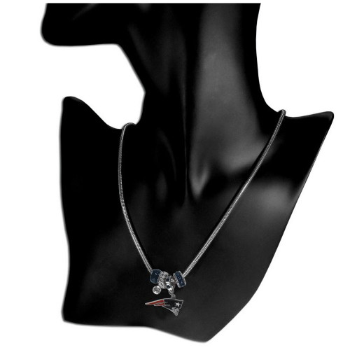 NFL New England Patriots Euro Bead Necklace, 18-Inch , Silver