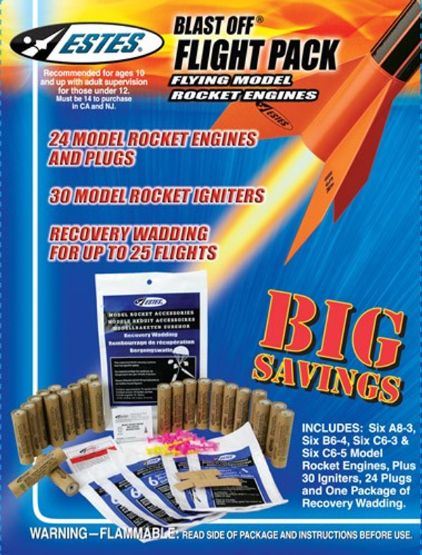 Blast-Off Flight Pack (6 ea.-A8-3,B6-4,C6-3,&C6-5) Flying Model Rocket Engines - Estes 1672
