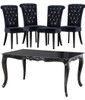 French Dining Table Set (1 Table 4 Chairs), High Gloss Noir