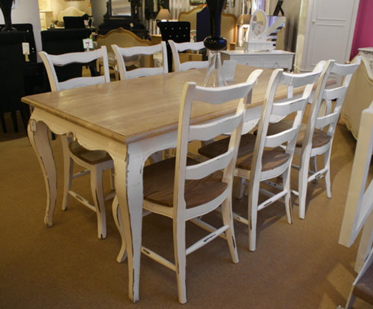 Shabby Chic Dining Table Set French Oak Stone