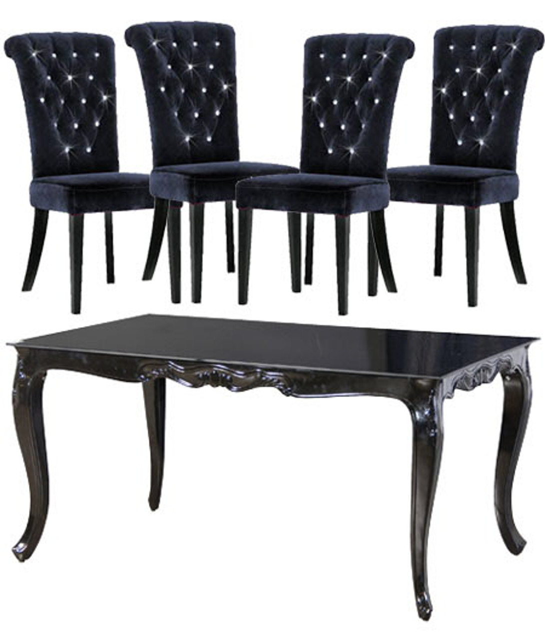 Remarkable French Dining Table Set 1 Table 4 Chairs High Gloss Noir Uwap Interior Chair Design Uwaporg
